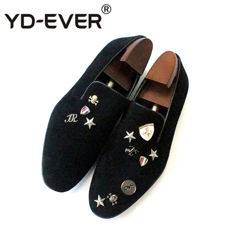 British Style Loafers Runway Big Size Stars Party Brand Smoking Slippers Skull Italy Metal Tip European Velvet Casual Shoes Men