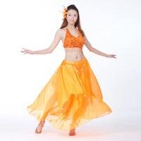 Du ventre Costume De Danse 2 Photos Soutien-Gorge Top et Jupe avec des Pièces 15 Couleurs