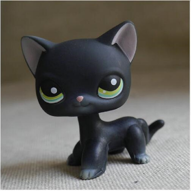 New pet shop children's toys play cat LPS dark grey green eyes short fur cat toys gift 12pcs set children kids toys gift mini figures toys little pet animal cat dog lps action figures
