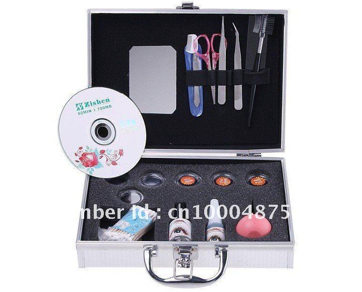 Freeshipping Hot Style False Eyelashes Eye Lash Extension Set Kit Case Gift Handmade Artificial Makeup Synthetic Eyelash &Glues