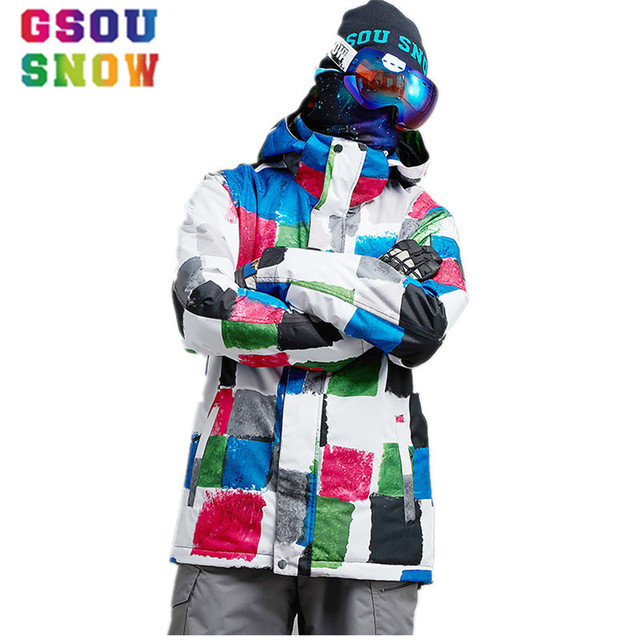 e7e542074f GSOU SNOW Ski Jacket Men Winter Wateproof Snowboard Jacket Mountain Skiing  Snowboarding Jackets -30 Degree Outdoor Sport Coat XL