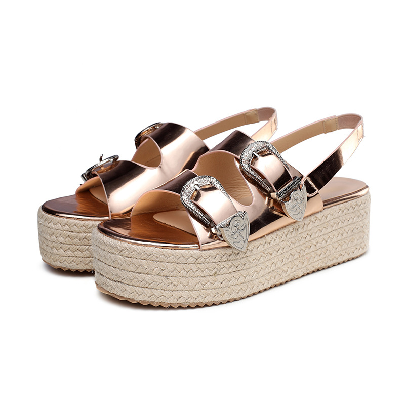 SWYIVY Women's Sandals Summer Shoes Wedge Heels 2019 New Black/gold Shoes Woman Beach Platform Sandals Gladiator Large Size 42