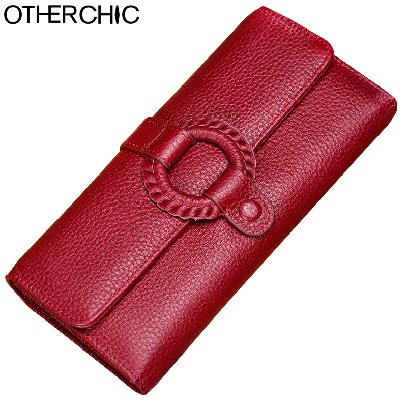 OTHERCHIC Genuine Leather Vintage Wallet Long Wallets Women Red Solid Wallets Stylish Leather Clutch Purses Female Purse 7N03-16 stylish women s solid color pleated culotte