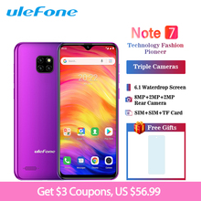 Ulefone Note 7 Smartphone 6.1 inch 19:9 Waterdrop Android 8.1 1GB+16GB Quad Core 3500mAh Face Unlock 3 Rear Camera Mobile Phone