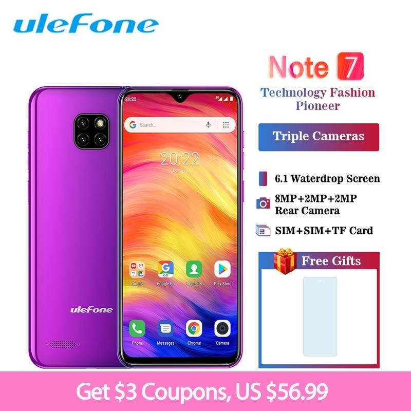 Ulefone Note 7 Smartphone 6.1 pouces 19:9 Waterdrop Android 8.1 1 GB + 16 GB Quad Core 3500 mAh déverrouillage du visage 3 caméra arrière téléphone portable