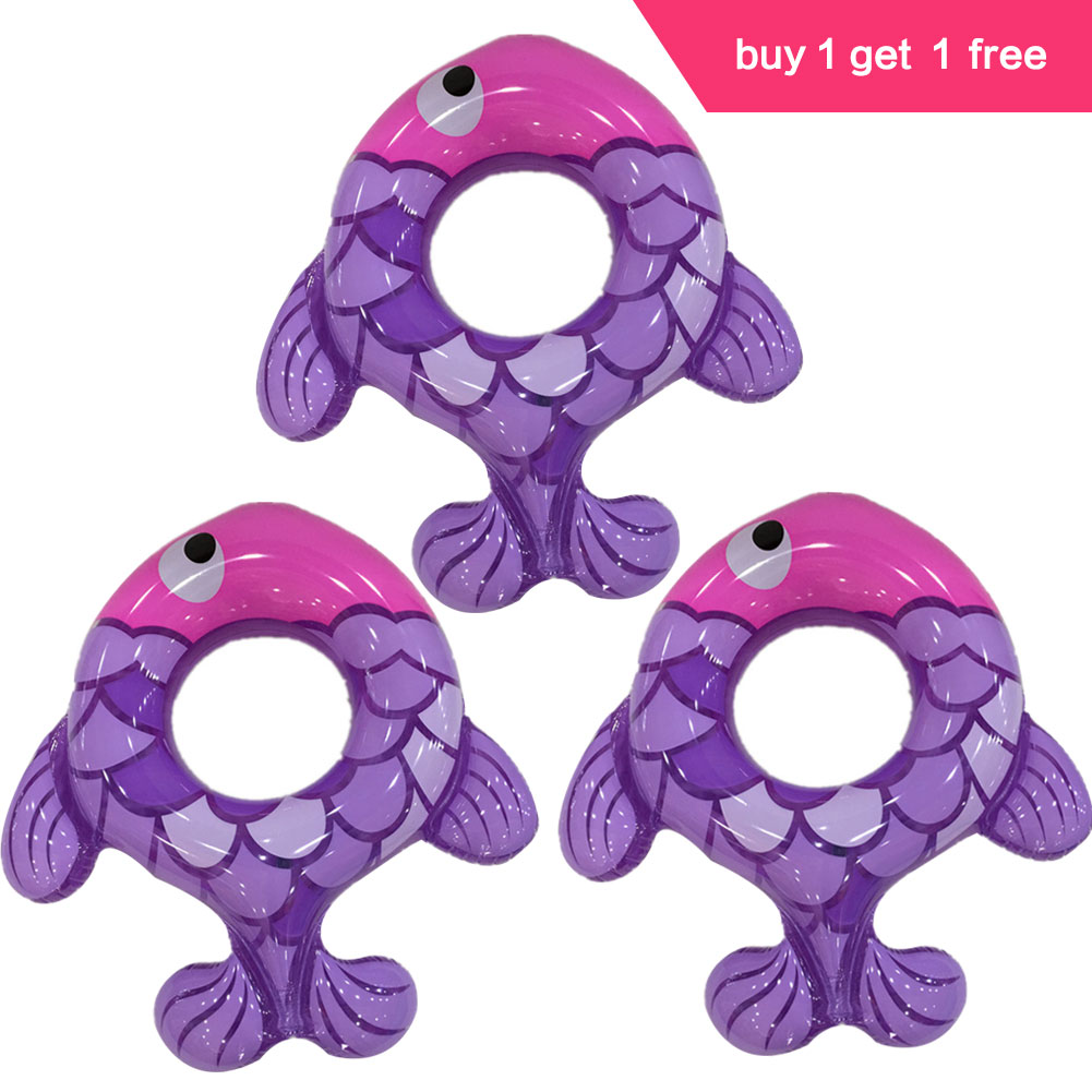 Lumiparty Детское одежа из 2 предметов Бассейны Игрушечные лошадки утолщаются Плавание кольцо надувные мультфильм шаблон рыбы разные цвета