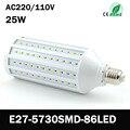 Super Power AC 220 V 240 V 25 W E27 86 LED lamps high Lumen 5730 SMD led corn bulb chandelier pendant lights ceiling light ZK50