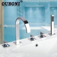 OUBONI New Arrival 3 Handles Taps Bath Tub 5PCS Chrome Faucet Basin Sink Mixer Taps With