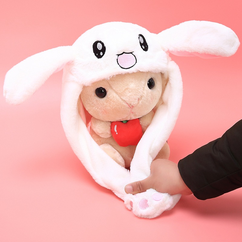 Douyin Plush Moving Rabbit Ears Hat Hand Pinching Ear To Move Vertical Ears Cap Kids Gilrs Women Party Stage Performance Gifts(China)