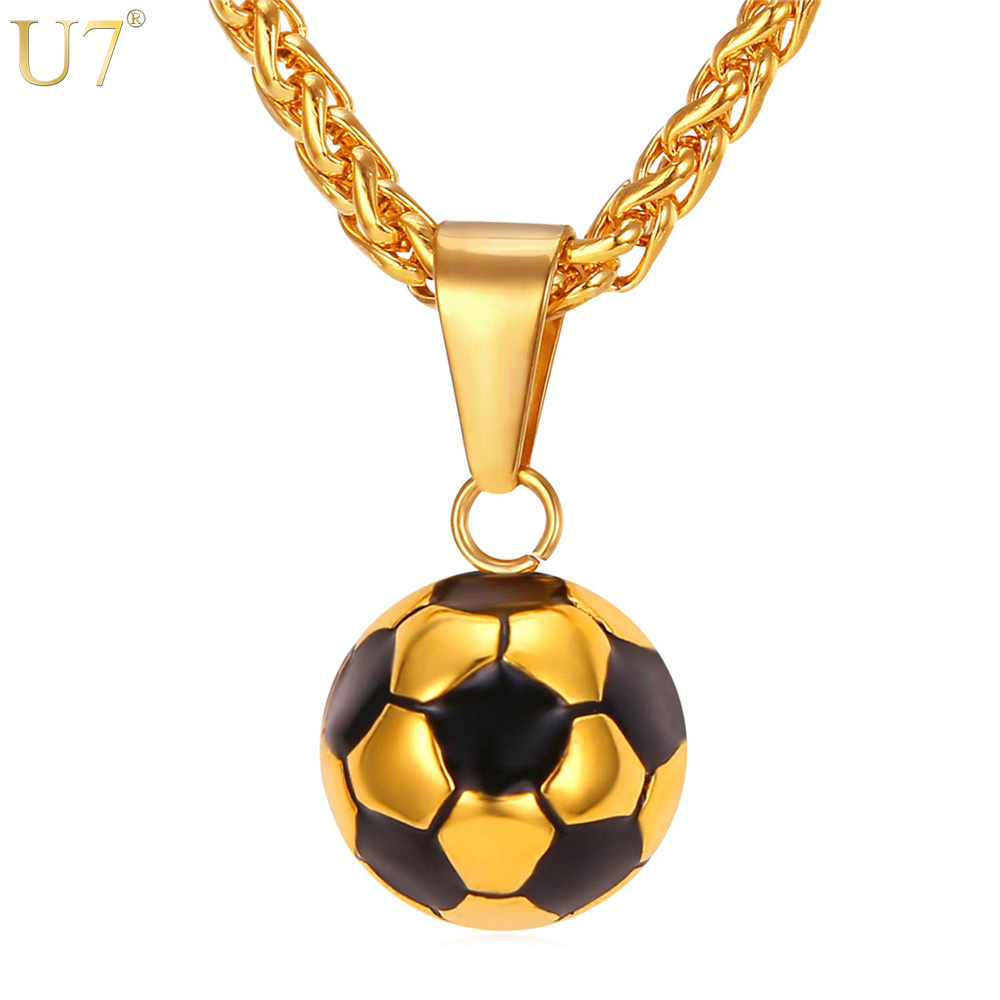 U7 Soccer Necklaces Men Jewelry Gold Color Stainless Steel Fitness Football Sport Pendant & Chain Fathers Day Gifts For Dad P918