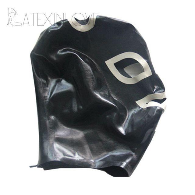 Black Sexy Latex Hood Mask Fetish Pull-through Holes For Hair