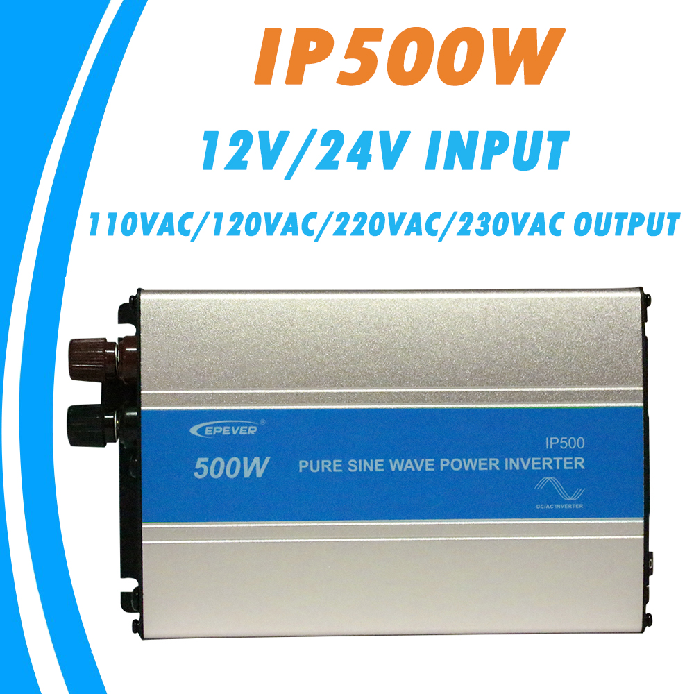 EPever 500W Pure Sine Wave Inverter 12V/24V Input 110VAC 120VAC 220VAC 230VAC Output 50HZ 60HZ High Efficiency Converter IPower