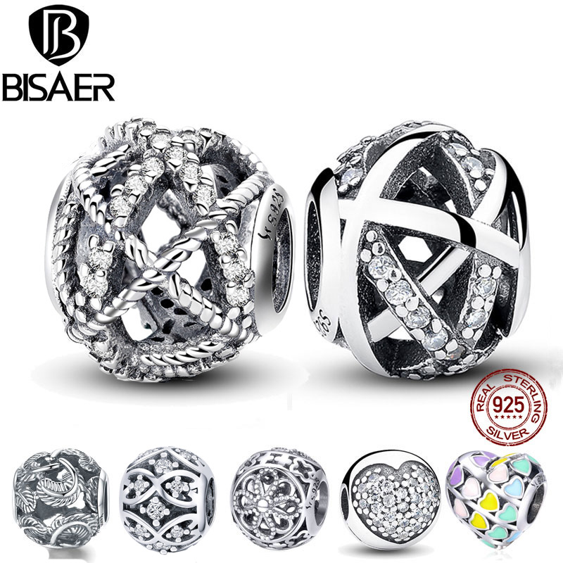 BISAER berloque 925 Sterling Silver Heart Charms Flower Mixed glass Beads Fit Charm Bracelet & Bangle Silver 925 Jewelry Making