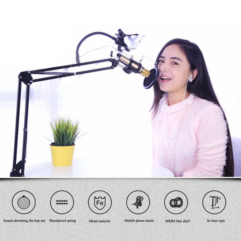 1 ШТ. Гибкий Микрофон Записи Металлический Подвесной Штангу Стенд Крепление для Студии Вещания С Мобильного Телефона Клип
