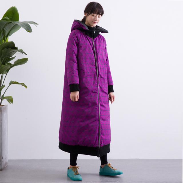 Reversible de dos vías CH281 Nueva Llegada 2017 ocasional flojo x de largo con capucha gruesa capa caliente del invierno pato blanco abajo chaqueta mujeres