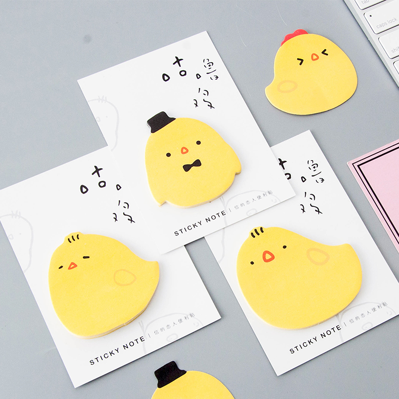 1 Pcs Mini Cute Little Yellow Chicken Convenience Stickers Student School Message Note Kawaii Plan Memo Pad Sticky Stationery
