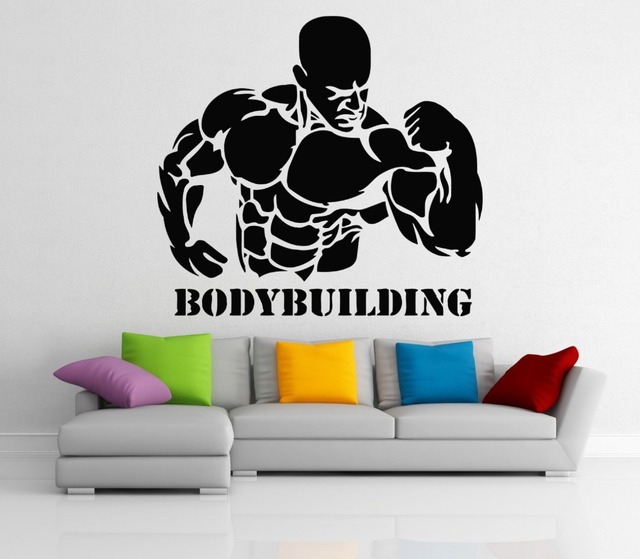 bodybuilding vinyl wall stickers home art decoration gym wall decals