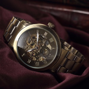 Image 5 - SHENHUA Luxury Brand Bronze Men Skeleton Mechanical Watches Male Clock Stainless Steel Strap Fashion Casual Automatic Watch