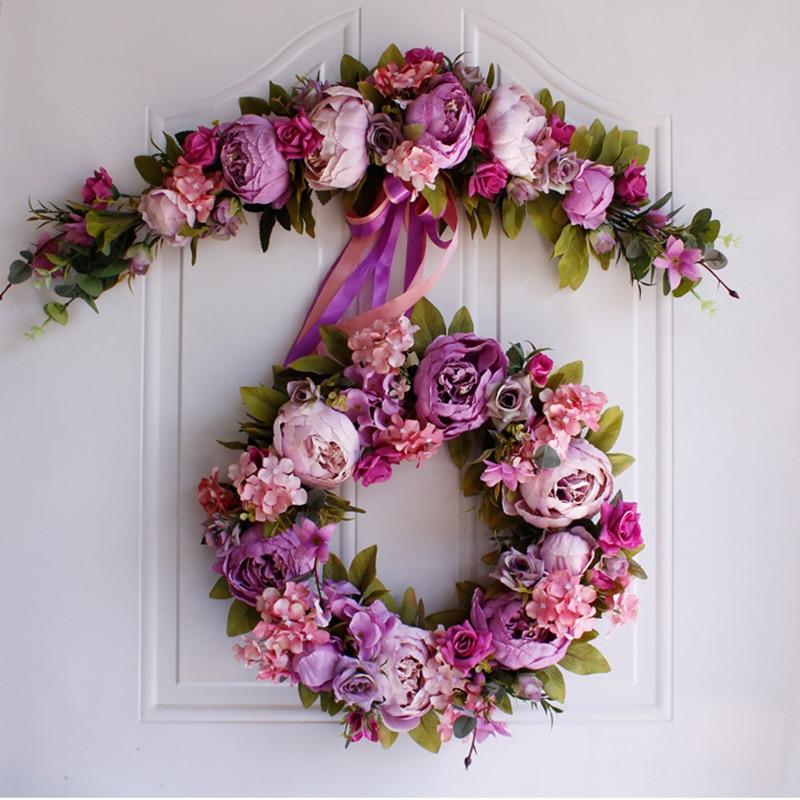 Us 12 0 36 Off Wedding Christmas Simulation Diy Artificial Flower Garland Wreath Set Door Garland Home Party Garden Decor Wreath Fake Flowers In