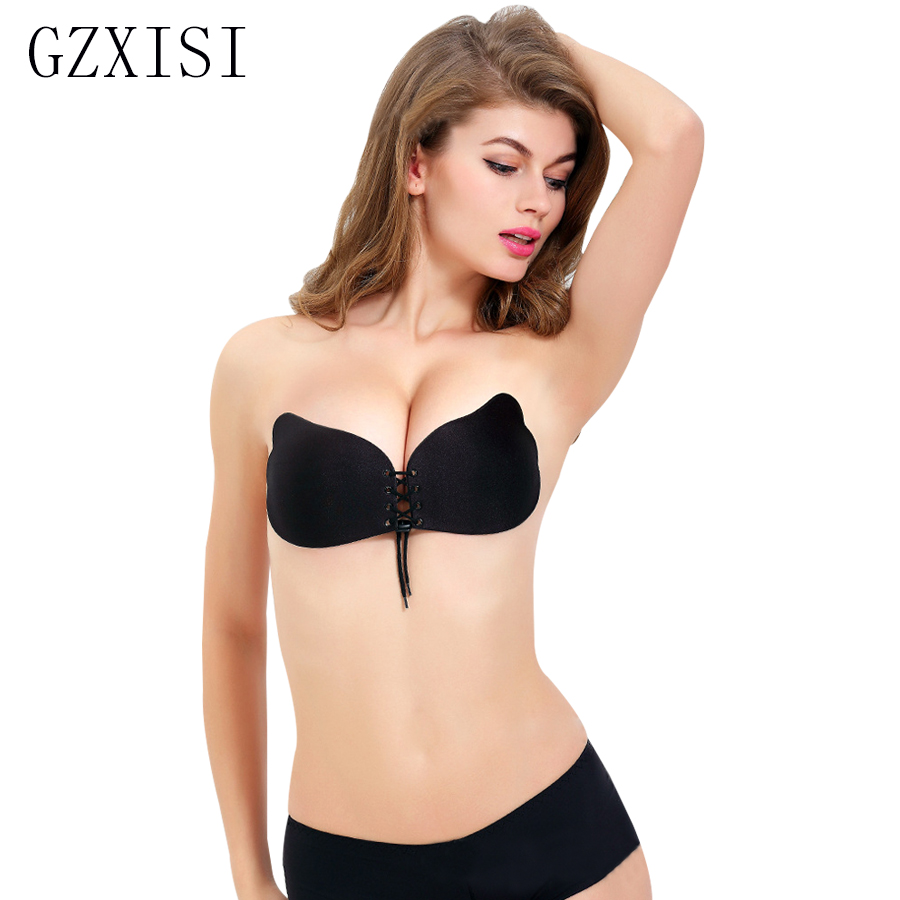 Sexy Push Up Fly Bra Silicone Lace Up Bralette Invisible Strapless ...