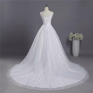 Image 3 - ZJ9041 2018 koronki paski spaghetti białe kości słoniowej moda seksowne suknie ślubne dla panny młodej maxi plus size rozmiar 2 26W pociągu