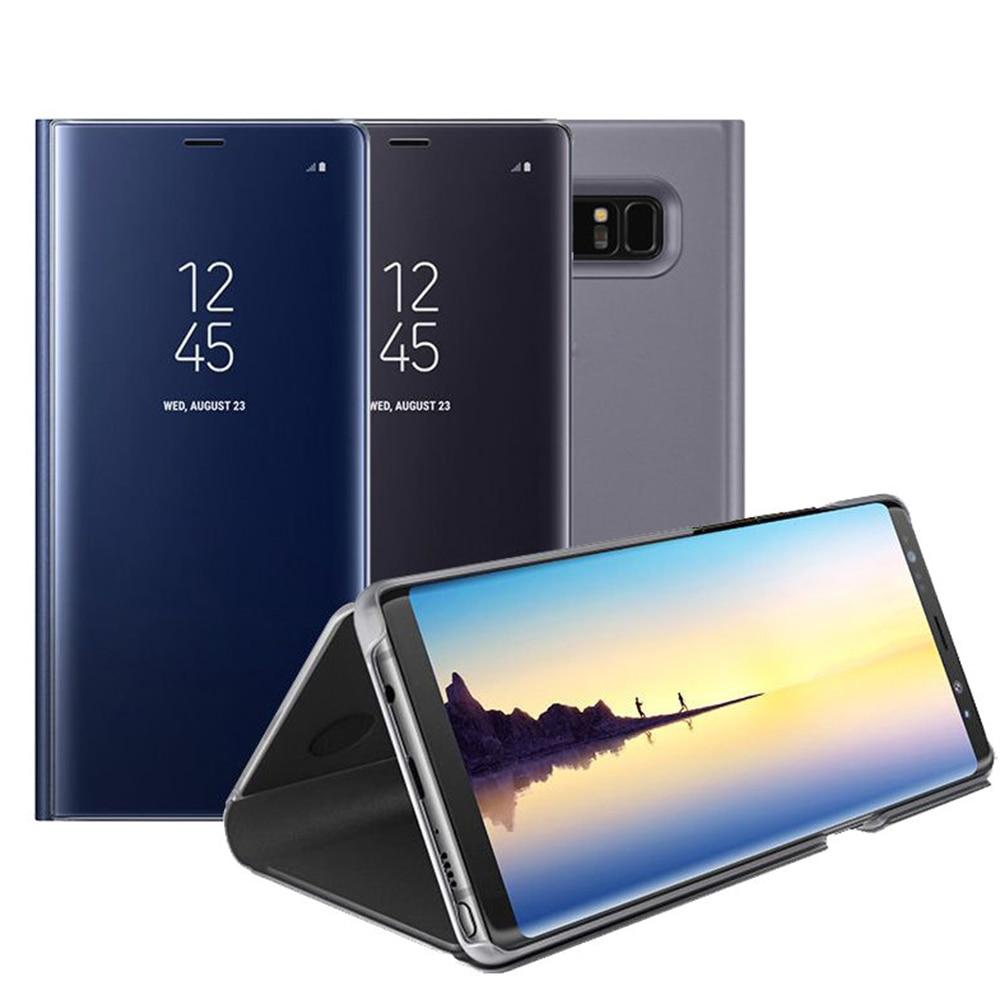 Miroir Flip Étui En Cuir Pour Samsung Galaxy Note 8 S6 S7 Bord S8 Plus Clair Fenêtre d'affichage Smart Cover Pour Samsung A5 A7 2017 couverture