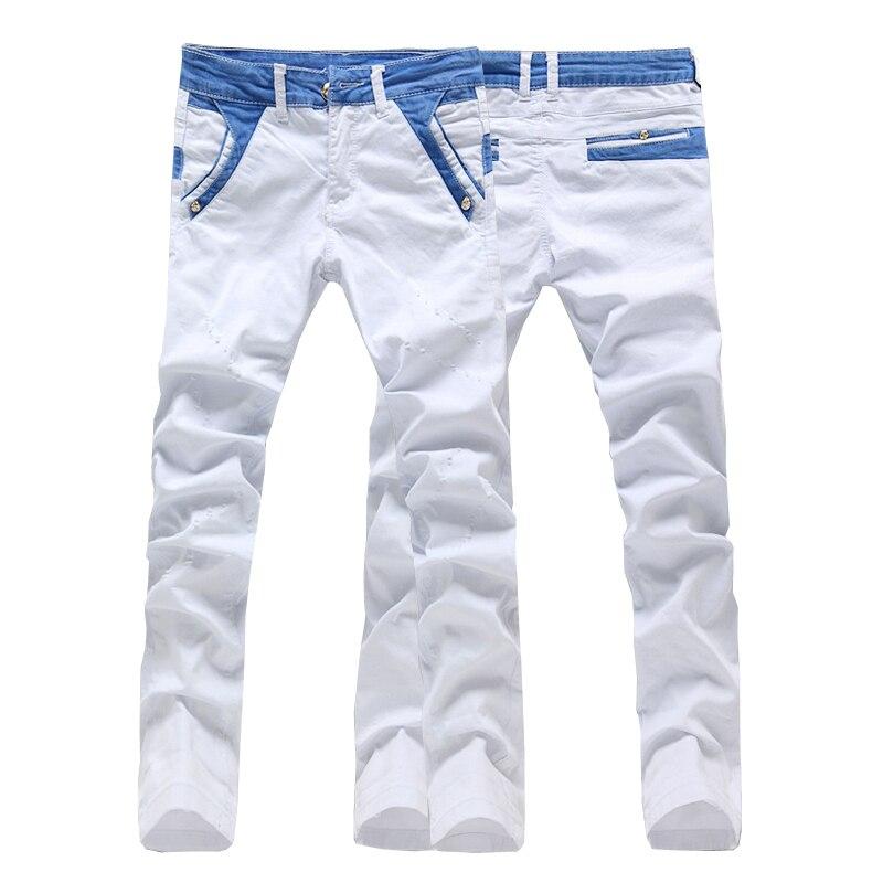 Top quality cotton solid men skinny jeans pants biker denim straight casual white color size 28