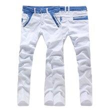 Высочайшее качество хлопок твердые мужчины узкие джинсы брюки байкер denim прямые повседневная белый цвет размер 28-36 AK16