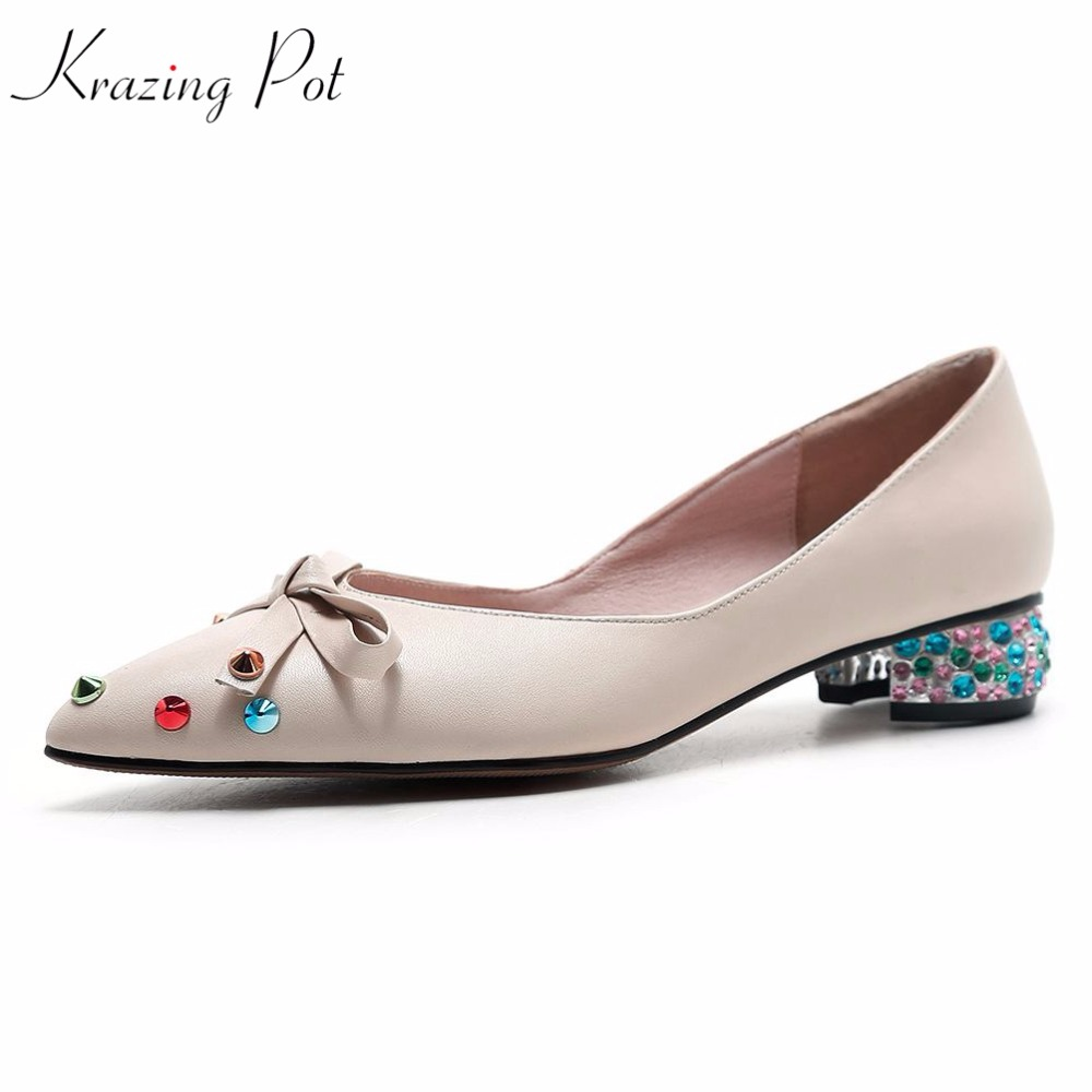 Krazing Pot 2018 brand shoes genuine leather low heels shoes woman bowtie rivets pumps pointed toe lazy crystal heel shoes L01