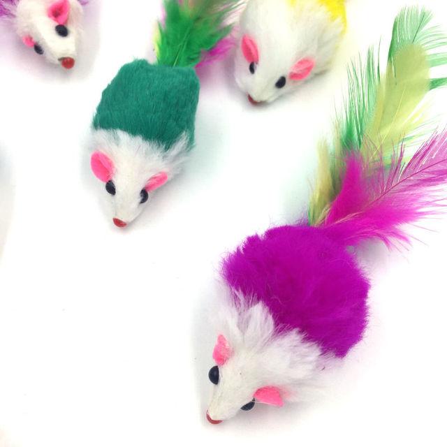 Pet Cat Toys 5pcs Creative False Mouse Cheap Mini Funny Playing Toys For Cats Kitten Multi color random Size 5*2Cm Free Shipping