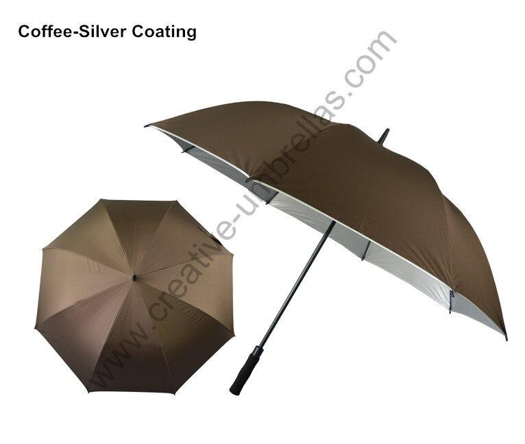 Diamètre 130 cm 4 pcs/lote lac bleu pongé argent coating-2 fois parapluies de golf. En fiber de verre, Auto open, Anti statique, Anti tonnerre