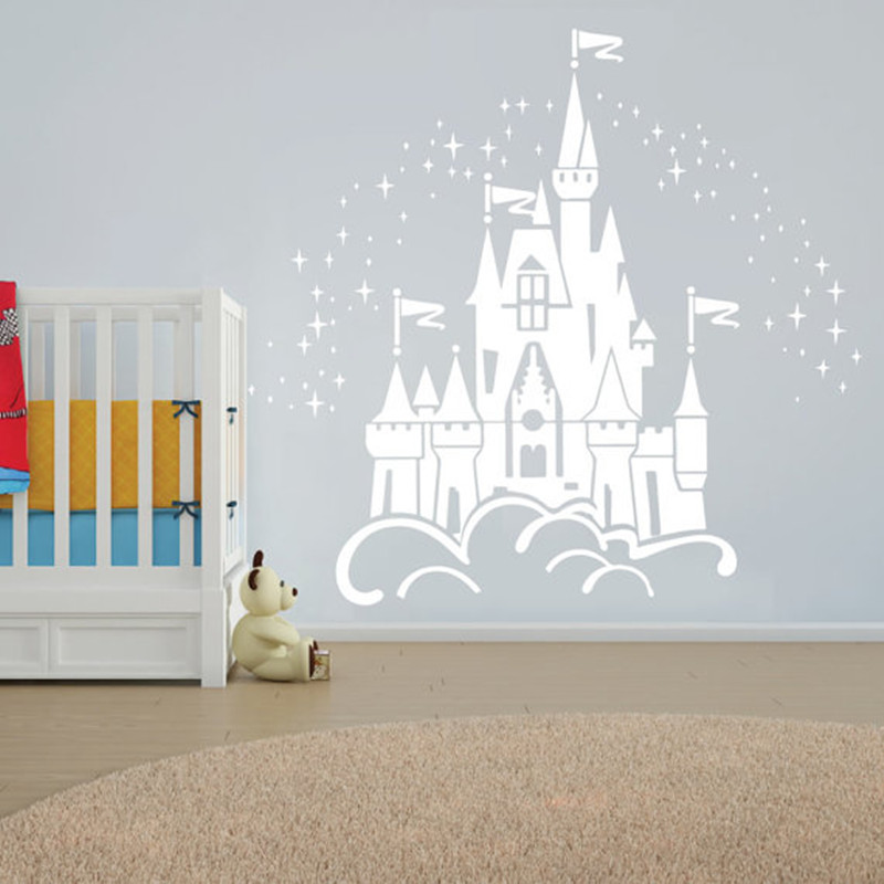 Floating Fairy Large Castle Wall Sticker Vinyl Decal Wall Art Nurseries Kids Wall Art Decals Baby Bedroom Decor Sticker T180310
