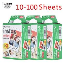 Genuino 10-100 hojas fuji film Instax Mini Film Photo Film papel para fuji Instax mini 9 8 7s 25 50 90 papel fotográfico instantáneo