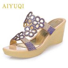 AIYUQI2019summer genuine leather women slippers, plus size 42#43# fashion rhinestones thick bottom female slippers shoes