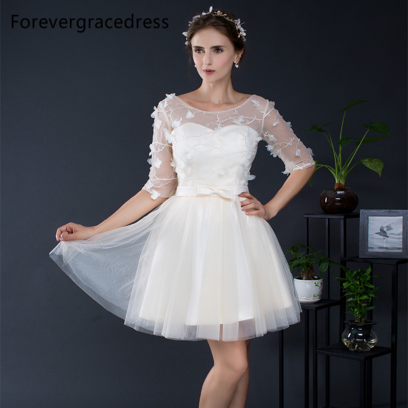 Forevergracedress Elegant Cheap   Bridesmaid     Dress   New Arrival Sheer Neck Tulle Short Wedding Party Gown Plus Size Custom Made