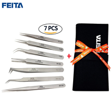 Free shipping 7pcs/set high quality Switzerland Stainless steel tweezers /Antistatic ESD tweezers/