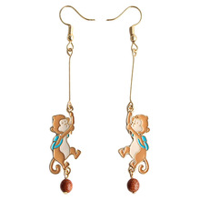 SANSUMMER 2019 Drop Earrings For Woman New Style Fashionable Cute Monkey Metal Material Glaze Process Aretes 269