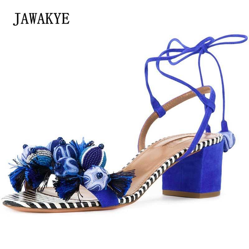 купить 2018 Blue Suede Tassel Gladiator Sandals Women Open Toe Cross-tied Ankle Strap Bead Rhinestone Chunky High Heel Shoes Woman по цене 4410.32 рублей