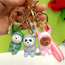 2019 New  Bare Bears lovely Doll Key Chain Figures Toy Grizzly Panda Lcebear Cosplay Ring Pendant Accessories Kids Gift