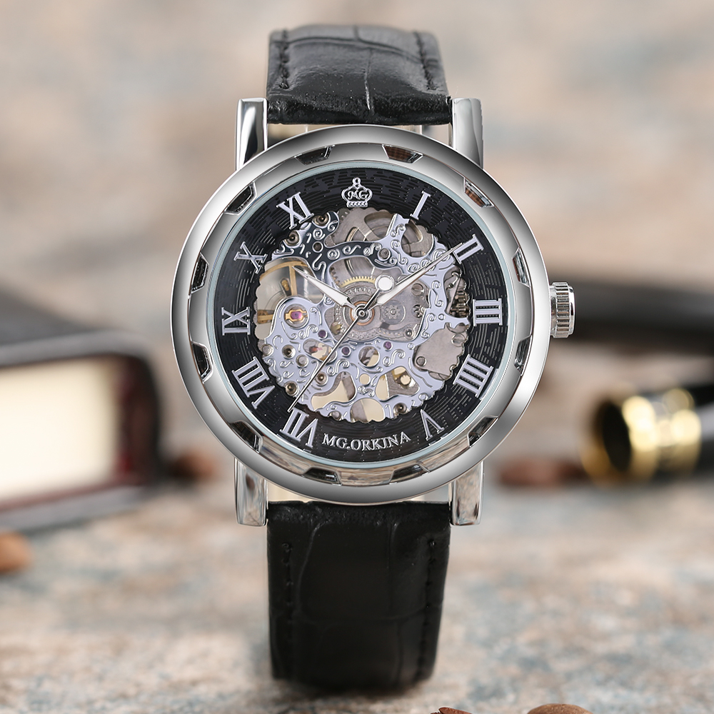 MG.ORKINA Luxury Hand-Wind Mechanical Watch Women Men Wrist Watch Casual Elegant Gift with Genuine Leather Strap Skeleton Dial