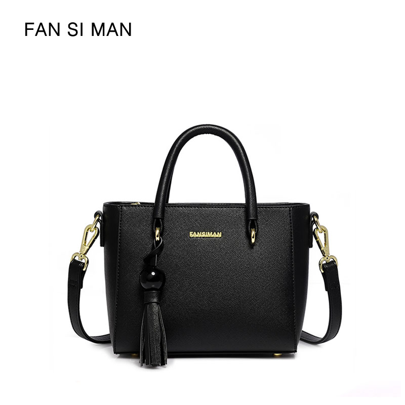 Fansiman Brand 2018 Women Shoulder Bags Pu Leather Fashion Tassel Women Handbags Big Tote Luxury Dress Bag Female Work Hand Bag