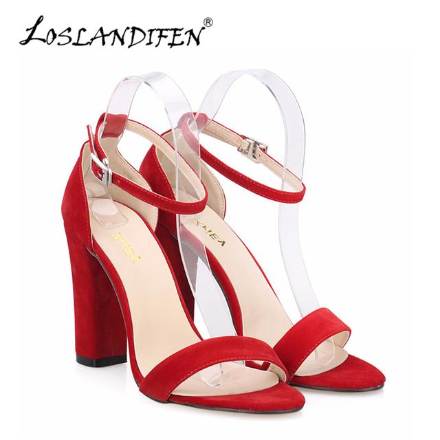 Sexy sapatos de Salto Alto Mulheres Sandália com Tira No Tornozelo Faux Velvet High-salto alto Verão Sapatos de Salto Grosso Bombas Nova Marca 368-1VE