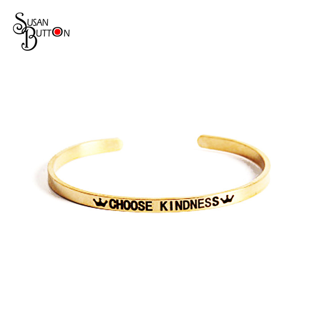 Carved Choose Kindness Letters Inspiring Bangles Bracelets Stainless Steel Gold Color Cuff Jewelry For Women
