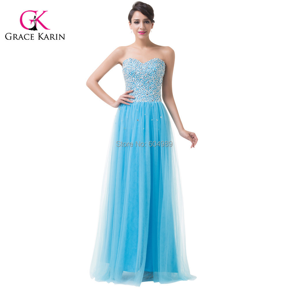 Grace Karin Vintage Tulle Blue Beaded Long Evening Dresses Formal ...