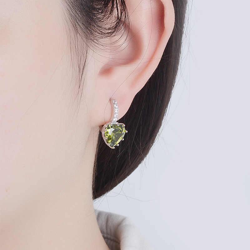 Pendientes de tuerca de corazón de cristal de colores de Plata de Ley 925 para mujer y Chica, joyería de moda, Pendientes, Pendientes EH699