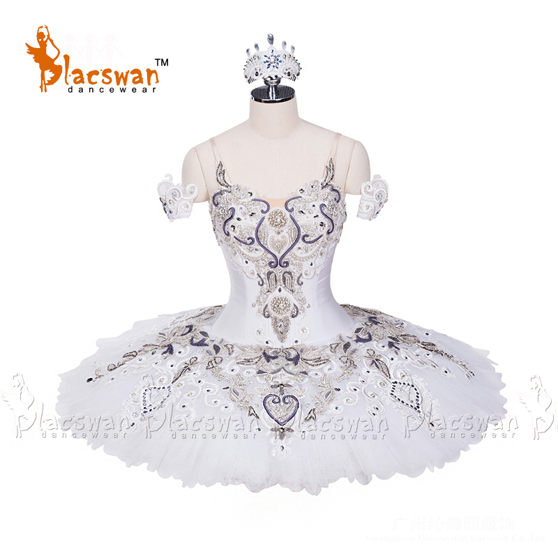 Adults Professional Tutu White Pancake Tutu with Sivler trims White Swan Ballet Tutus YAGP Performance Tutu Ballet CostumeBT696
