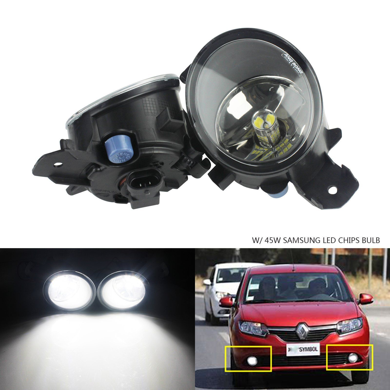 ANGRONG For <font><b>Renault</b></font> Clio Koelos <font><b>Modus</b></font> Vel Satis Front Fog Light Lamp +45W SAMSUNG <font><b>LED</b></font> Bulbs image