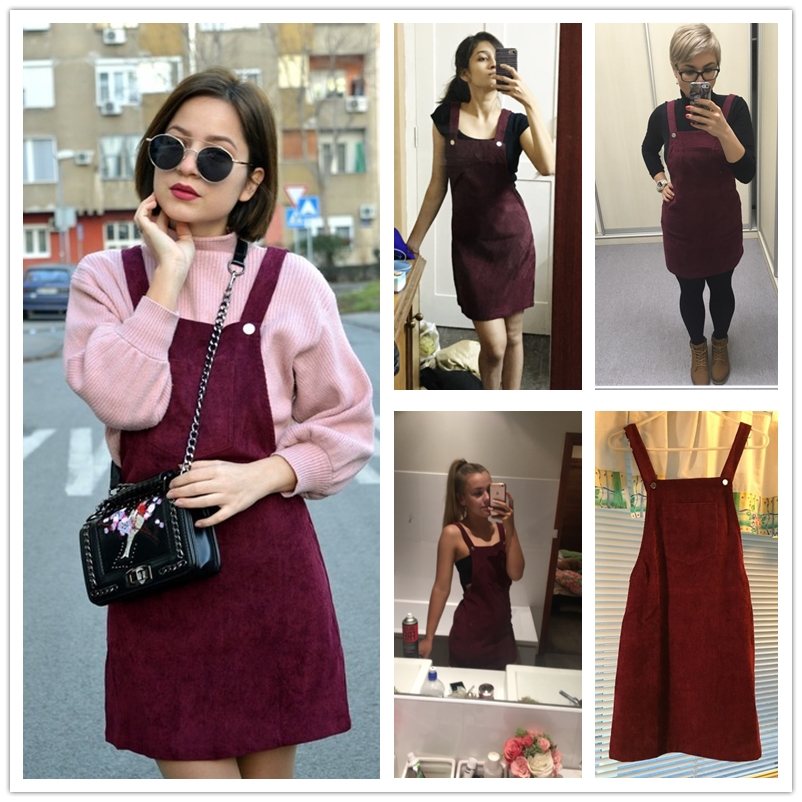 3bf5b968c34 Dotfashion Bib Pocket Front Overall Dress 2019 Burgundy Square Neck  Pinafore Cute Shift Dress Sleeveless Short Dress-in Dresses from Women s  Clothing on ...