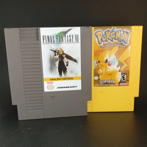 72 Pins 8 bit Game Cartridge - Final Fantasy VII English Pocket Monsters - Yellow Battery Save duck tales 2 english version 72 pins game card for 8 bit game player