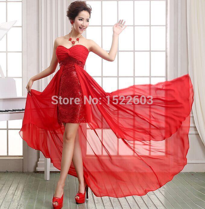 vestidos de novia blanco con rojo cortos